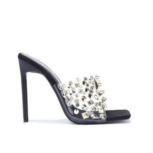 Shoes - !! NEW !! Clear Studded Mules in Black